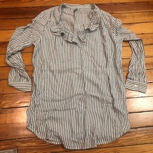 Aerie Super Soft Striped Tunic With Ruffle Neck